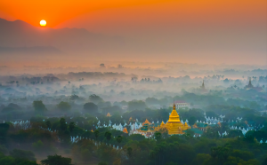 RPS Ribbons - Francis King (Canada)<br />Sunrise Over Myanmer Temple