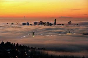 PhotoVivo Honor Mention e-certificate - Philip Chan (Canada)  Foggy Vancouver Downtown